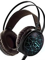 Auscultadores de jogos de pc estéreo 7 cores que respiram auscultadores de luz frontal com microfone flexionados para jogos comtuper