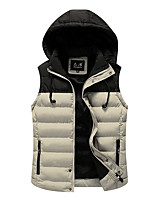 Men's Regular Padded Coat,Simple Casual/Daily Color Block-Cotton Cotton Sleeveless
