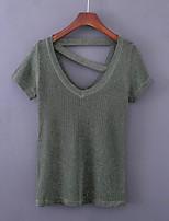 Standard Pullover Da donna-Per uscire Casual Semplice Moda città Tinta unita A V Manica corta Lana Primavera Medio spessoreMedia