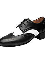 Men's Latin Outdoor Real Leather Heels Professional Black/White