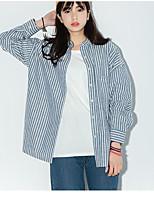 Feminino Camisa Social Casual Simples Listrado Algodão Outros Colarinho de Camisa Manga Longa
