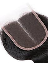 3.5'x4 onda brasileña del cuerpo 100% pelo humano tapa encaje cierre nudos de blanqueo