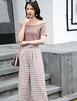 Women's Daily Casual Casual Summer T-shirt Pant Suits,Solid Plaid/Check Bateau Short Sleeve Micro-elastic