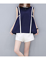Women's Daily Casual Casual Summer T-shirt Pant Suits,Striped Round Neck Sleeveless Inelastic