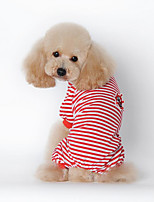 Dog Shirt / T-Shirt Dog Clothes Casual/Daily Stripe Black Red Blue
