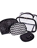 Women Storage Bag PVC All Seasons Casual Baguette Zipper Black