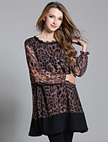JIANRUYI Women's Going out Casual/Daily Sexy Loose Chiffon DressLeopard Round Neck Above Knee Long Sleeve Polyester Fall High Rise Inelastic Thin