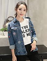 Women's Daily Casual Fall/Autumn Denim Jacket,Solid Shirt Collar Long Sleeve Short Cotton