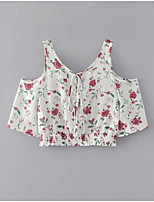 Women's Daily Casual Simple Blouse,Floral V Neck Short Sleeve Polyester