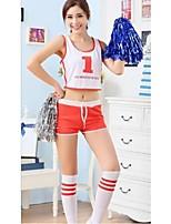 Fantasias para Cheerleader Roupa Mulheres Apresentação Poliéster 2 Peças Sem Mangas Alto Blusas Calções