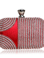 Women Bags All Seasons Polyester Evening Bag with Rhinestone Rivet Chain Tassel for Event/Party Blue Gold Black Silver Red