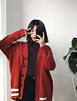 Standard Cardigan Da donna-Casual Semplice Tinta unita Rotonda Manica lunga Cotone Primavera Medio spessore Media elasticità