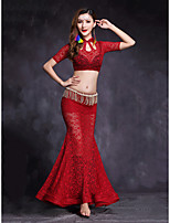Belly Dance Outfits Women's Performance Lace 2 Pieces Short Sleeve Natural Top / Skirts
