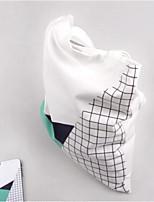 Mulher Bolsa de Ombro Lona Todas as Estações Casual Redondo Sem Zíper Branco