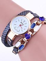 Mulheres Bracele Relógio Chinês Quartzo PU Banda Casual Elegantes Preta Branco Azul Vermelho Marrom Azul Marinho Rose