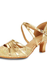 Women's Dance Shoes Sandals Latin Paillette Chunky Heel Indoor Gold/Silver
