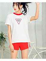 Women's Casual/Daily Athleisure Casual Summer T-shirt Pant Suits,Print Patchwork Round Neck Short Sleeve