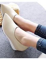 Women's Heels Comfort Cowhide Fall Casual Comfort Wedge Heel Black Beige 2in-2 3/4in