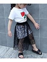 Girls' Solid Floral Sets,Cotton Summer Short Sleeve Clothing Set