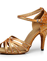 Women's Latin PU Heels Indoor Buckle Crystals/Rhinestones Brown Black 2