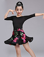 Shall We Latin Dance Outfits Kid's Spandex Half Sleeve High Headpieces