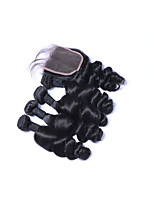 Short Size 100% Unprocessed 4pcs 400g Loose Wave Brazilian Remy Human Hair Wefts with 1Pcs 4x4 Lace Top Closures Natural Black Human Hair Extensions