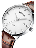 Men's Fashion Watch Mechanical Watch Automatic self-winding Calendar Noctilucent Leather Band Black Brown