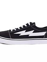 Для мужчин Кеды Удобная обувь Полотно Весна Осень Повседневные Шнуровка На плоской подошве Белый Черный Серый На плоской подошве