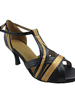 Women's Latin Faux Leather Sandals Performance Splicing Stiletto Heel Black/Gold 3