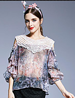 Women's Casual/Daily Simple Blouse,Floral V Neck Half Sleeve Others
