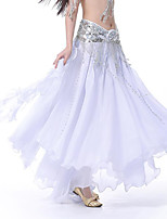 Belly Dance Women's Performance Chiffon Sequin 1 Piece High Skirts