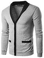 Herren Standard Strickjacke-Lässig/Alltäglich Arbeit Retro Einfach Gestreift Einfarbig V-Ausschnitt Langarm Baumwolle KunstseideHerbst
