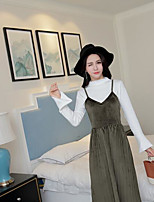 Women's Daily Casual Casual Spring T-shirt Dress Suits,Solid Stand Long Sleeve Micro-elastic