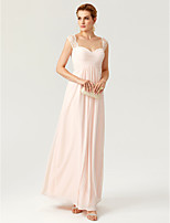2017 TS Couture Formal Evening Dress - Open Back Elegant Sheath / Column Straps Floor Length Chiffon Lace with Lace Pleats Criss Cross Ruching