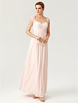TS Couture Formeller Abend Kleid - Elegant Offener Rücken Eng anliegend Boden-Länge Chiffon Spitze mitSpitze Überkreuzte Rüschen