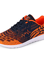 Men's Sneakers Comfort Spring Fall Knit Casual Outdoor Lace-up Flat Heel Silver Orange Blue 3in-3 3/4in
