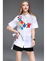 CELINEIA Women's Casual/Daily Boho ShirtSolid Embroidery Shirt Collar Short Sleeve Cotton