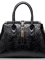 Women Tote Cowhide All Seasons Casual Outdoor Square Zipper Wine Black