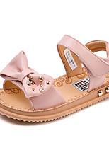 Girls' Flats Comfort PU Spring Fall Casual Walking Comfort Magic Tape Low Heel Blushing Pink White Flat