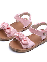 Girls' Flats First Walkers PU Spring Fall Casual Walking First Walkers Magic Tape Low Heel Blushing Pink Gray Flat