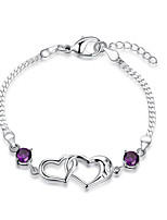 Women's Chain Bracelet Fashion Vintage  Amethyst Fine Silver Two Heart Jewelry For Wedding Anniversary Party/ Evening Dailywear Engagement