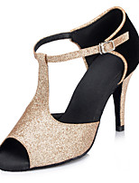 Women's Latin Glitter Sandals Performance Sparkling Glitter Stiletto Heel Black Gold 3