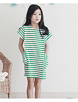 Vestido Chica de Un Color A Rayas