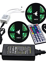 HKV® 1 Pcs 10M(2*5M) Waterproof 5050 RGB 300LED RGB Strip Flexible Light 44Key IR Remote Controller 5A Power Supply AC 110-240V