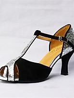 Для женщин Латина Флис Сандалии Концертная обувь С пряжкой Кубинский каблук Черный 5 - 6,8 см Персонализируемая
