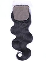 Beata hair 4 * 4inch шелковая основа закрытие корпус волна натуральный цвет бразильская виргинская пряжка для волос 8-20inch long 1 шт.