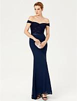 TS Couture Evento Formal Vestido - Frente Única Elegant Sereia Cauda Escova Chiffon Renda com Faixa / Fita Lantejoulas