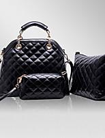 Women Bag Sets PU All Seasons Event/Party Formal Office & Career Rectangular Rivet Zipper Zipper Wine Beige Black Blue