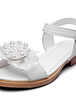Girls' Sandals Comfort Leatherette Summer Fall Wedding Party & Evening Dress Comfort Applique Magic Tape Low Heel Blushing Pink White Flat
