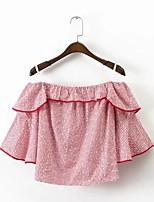 Tee-shirt Femme,Imprimé Décontracté / Quotidien Sortie Sexy simple Chic de Rue Eté Manches Courtes Bateau Coton Moyen Fin